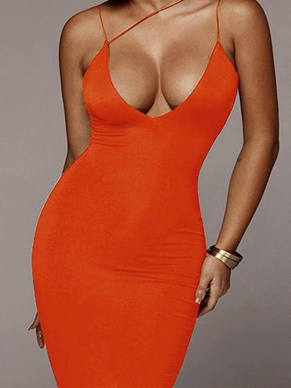 Orange Plunge Cami Maxi Dress
