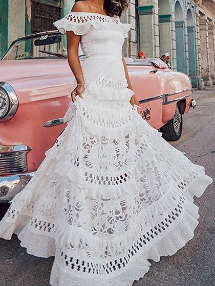 White Off Shoulder Ruffle Trim Maxi Dress