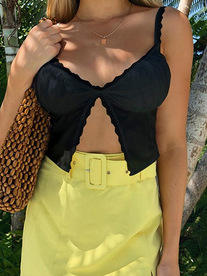 Black V-neck Lace Trim Cami Crop Top