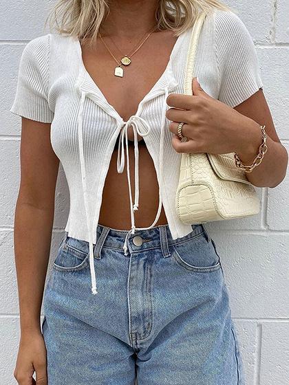 White Tie Front Crop Top