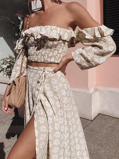 Khaki Off Shoulder Floral Print Top And Maxi Skirt
