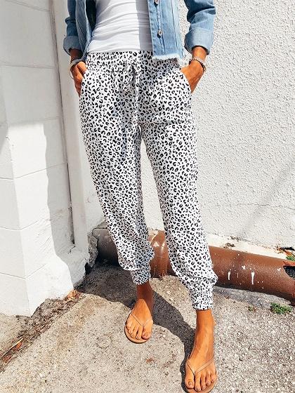 White High Waist Leopard Print Pants