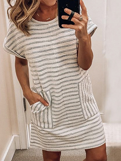 Gray Stripe Mini Dress