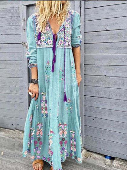 Light Blue Floral Print Long Sleeve Maxi Dress