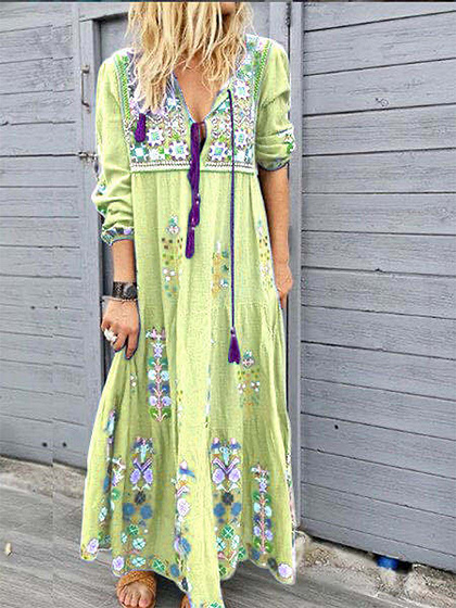 Green Floral Print Long Sleeve Maxi Dress