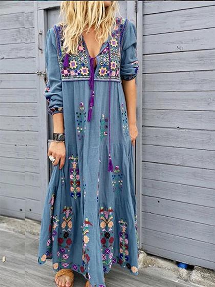 Blue Floral Print Long Sleeve Maxi Dress