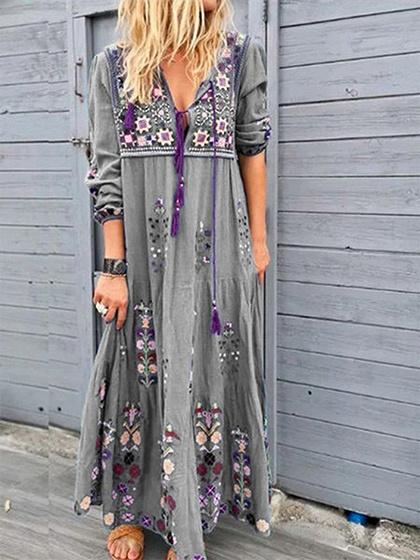 Gray Floral Print Long Sleeve Maxi Dress