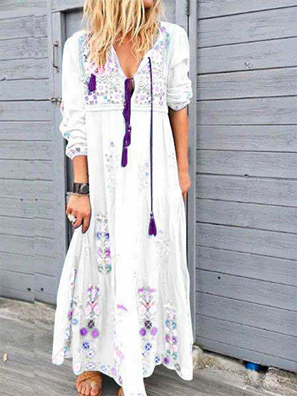 White Floral Print Long Sleeve Maxi Dress