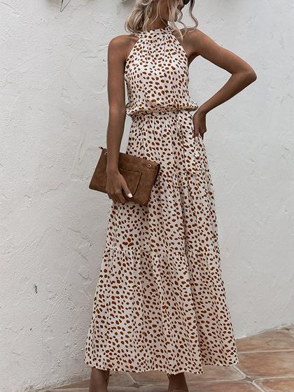 Beige Polka Dot Print Sleeveless Maxi Dress
