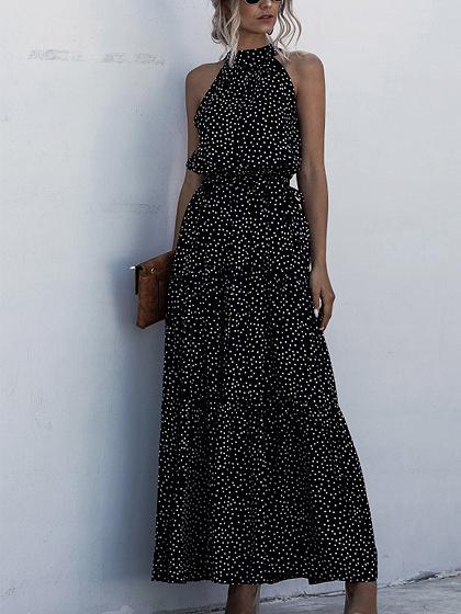 Black Polka Dot Print Sleeveless Maxi Dress