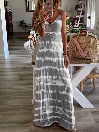 Gray Stripe V-neck Cami Maxi Dress