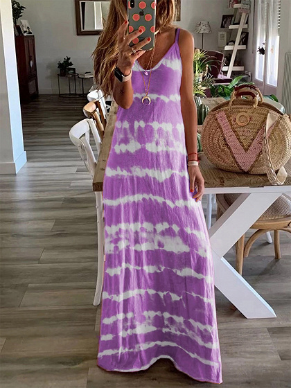 Purple Stripe V-neck Cami Maxi Dress