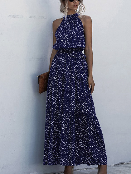 Dark Blue Polka Dot Print Sleeveless Maxi Dress