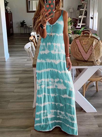 Green Stripe V-neck Cami Maxi Dress
