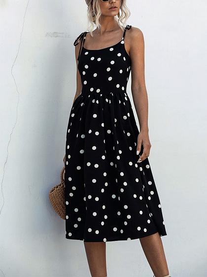 Black Polka Dot Print Cami Midi Dress