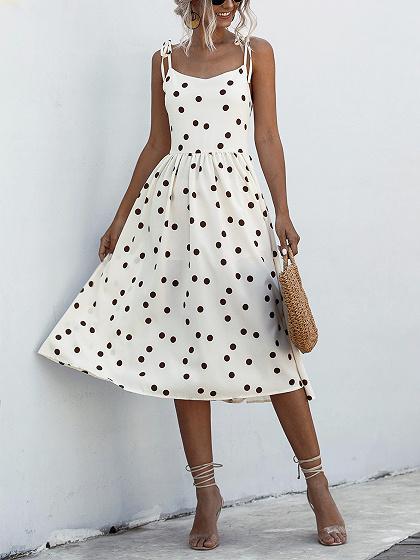 White Polka Dot Print Cami Midi Dress