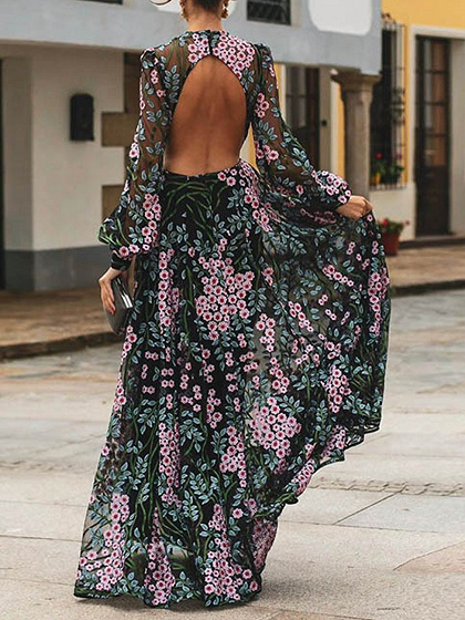 Black Floral Print Open Back Long Sleeve Maxi Dress