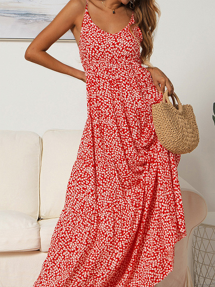 Red V-neck Floral Print Cami Maxi Dress