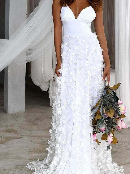 White Plunge Cami Maxi Dress