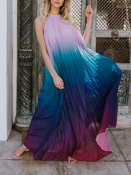 Purple Dip Dye Halter Open Back Sleeveless Maxi Dress