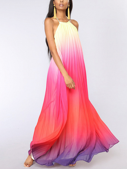 Red Dip Dye Halter Open Back Sleeveless Maxi Dress
