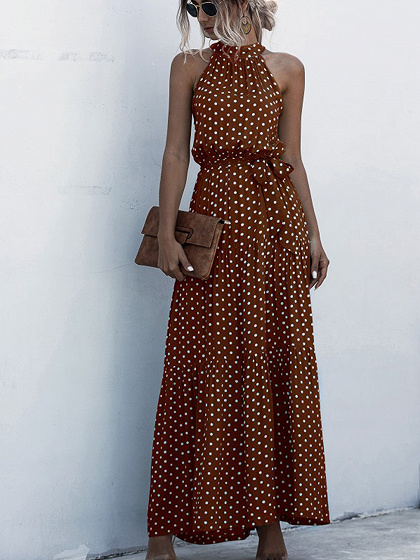 Brown Floral Print Sleeveless Maxi Dress