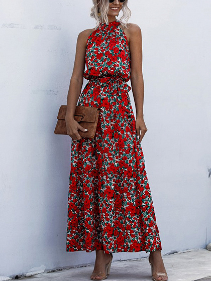 Red Floral Print Sleeveless Maxi Dress