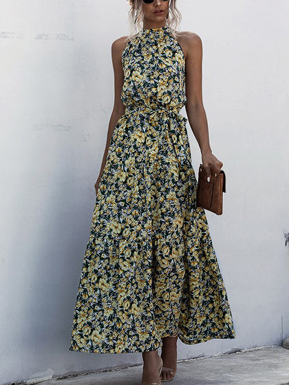 Yellow Floral Print Sleeveless Maxi Dress
