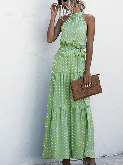 Green Polka Dot Print Sleeveless Maxi Dress