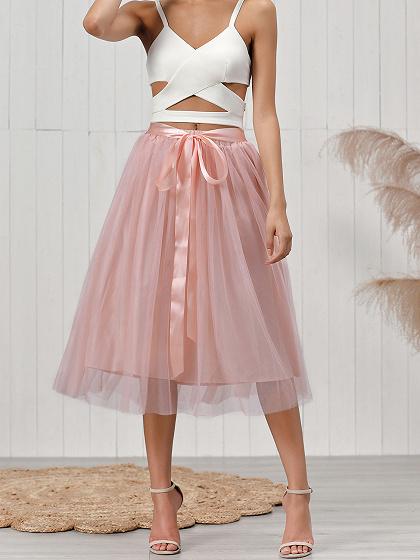 Pink Elastic Waist Mesh Tulle Skirt