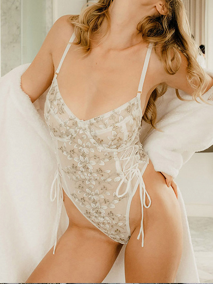 White V-neck Flower Embroidery Lace Bodysuit