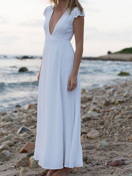 White Chiffon V-neck Tie Waist Thigh Split Front Chic Women Maxi Dress