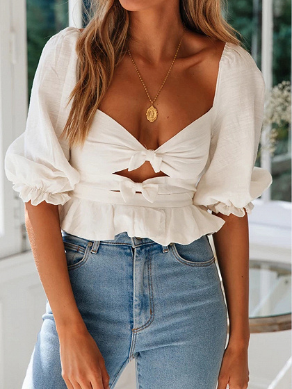White Plunge Open Back Puff Sleeve Blouse