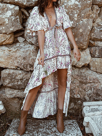 Beige Plunge Floral Print Flare Sleeve Hi-Lo Maxi Dress