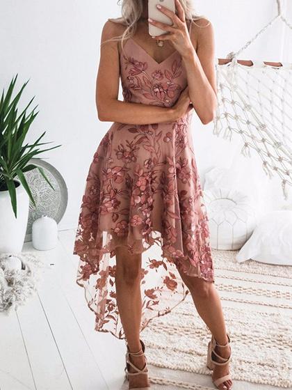 Pink V-neck Cami Hi-Lo Dress