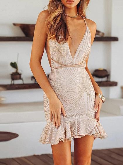 Golden Plunge Open Back Cami Mini Dress