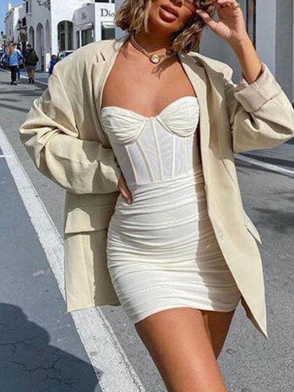 Beige V-neck Ruched Detail Cami Mini Dress
