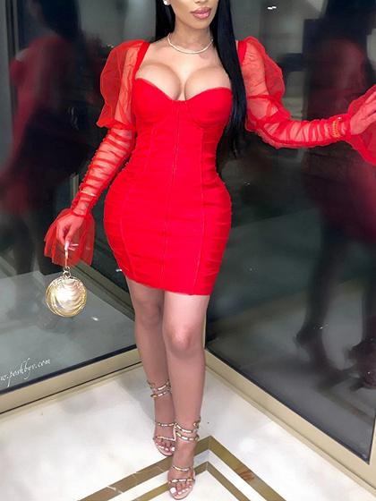 Red V-neck Puff Sleeve Bodycon Mini Dress
