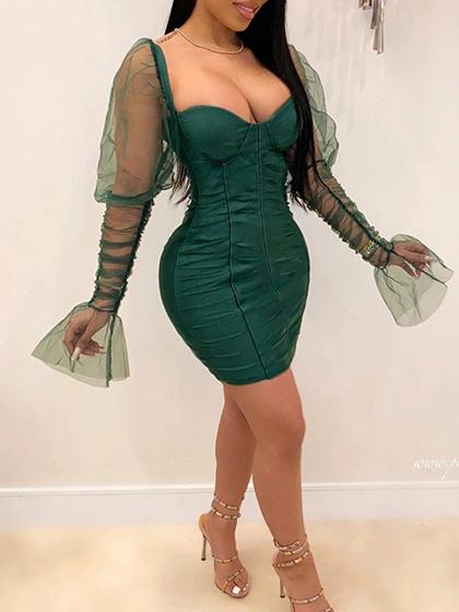 Green V-neck Puff Sleeve Bodycon Mini Dress