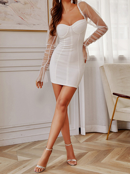 White V-neck Puff Sleeve Bodycon Mini Dress