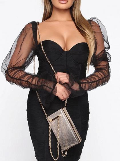 Black V-neck Puff Sleeve Bodycon Mini Dress