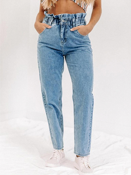 Light Blue Denim High Waist Pants