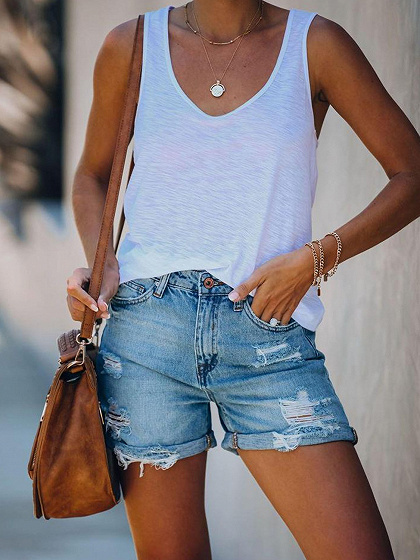 Light Blue Denim High Waist Shorts