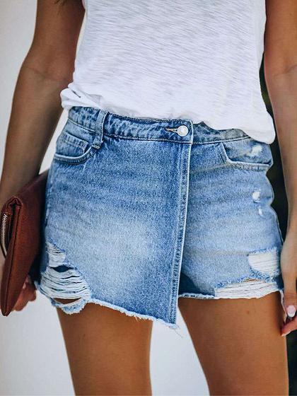 Blue Denim High Waist Shorts