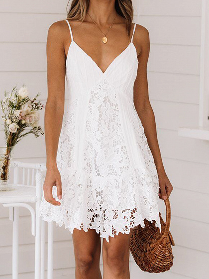 White V-neck Lace Cami Mini Dress