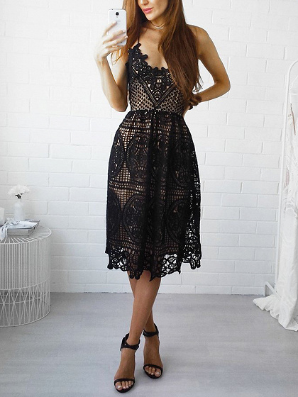 Black V-neck Lace Up Back Lace Cami Dress