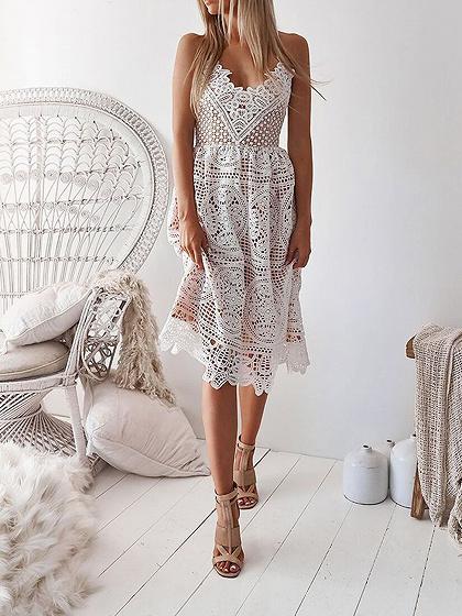 White V-neck Lace Up Back Lace Cami Dress