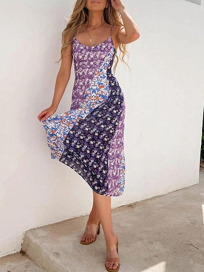 Purple V-neck Floral Print Cami Maxi Dress