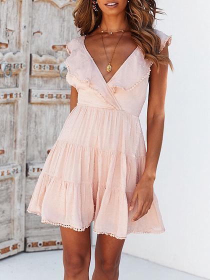 Pink V-neck Ruffle Trim Open Back Mini Dress