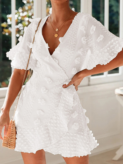 White V-neck Flare Sleeve Mini Dress